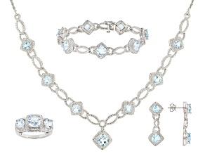 Blue Topaz Rhodium Over Brass Jewelry Set 5.01ctw