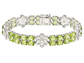 Green Peridot Rhodium Over Sterling Silver 20.00ctw