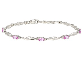 Pink Lab Created Sapphire Rhodium Over Sterling Silver Bracelet 1.57ctw