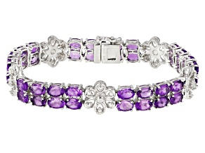 Purple Oval African Amethyst Rhodium Over Sterling Silver Floral Bracelet 18.00ctw