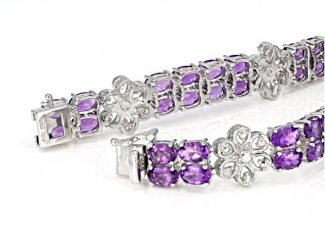 Purple African Amethyst Rhodium Over Silver Bracelet 18.00ctw