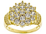 White Zircon 18k Gold over Silver Cluster Ring 2.61ctw