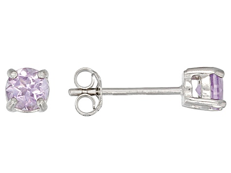 Purple Amethyst Rhodium Over Silver 3 Pairs Stud Earrings Set 1.30ctw