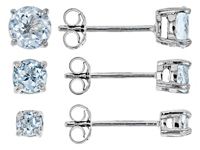 Blue Topaz Rhodium Over Silver 3 Pairs Stud Earrings Set 1.30ctw