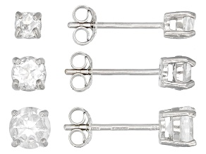 White Topaz Rhodium Over Silver 3 Pairs Stud Earrings Set 1.30ctw