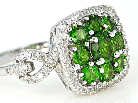 Green Chrome Diopside Rhodium Over Silver Ring 2.51ctw