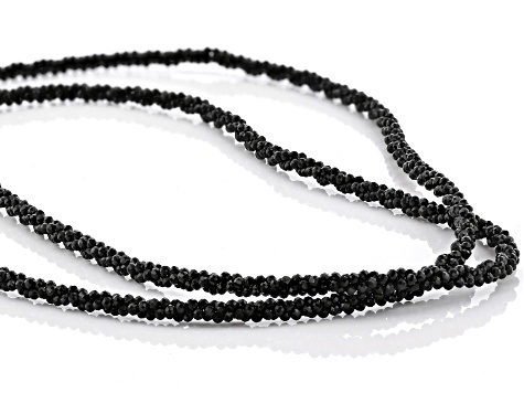 Black Spinel Rhodium Over Silver Bead Necklace Approximately 100.00ctw