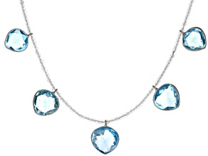 Blue Topaz Rhodium Over Silver Necklace 44.00ctw