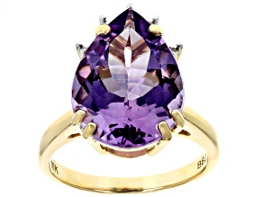 Amethyst 10K Yellow Gold Ring 5.2ctw