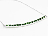Green Chrome Diopside Rhodium Over Silver Bar Necklace 2.13ctw