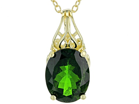 Chrome Diopside 18k Yellow Over Sterling Silver Pendant with Chain 2.70ctw