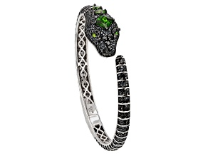 Black Spinel Rhodium Over Silver Snake Bracelet 9.17ctw