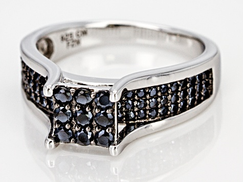 Black Spinel Rhodium Over Silver Ring 0.82ctw