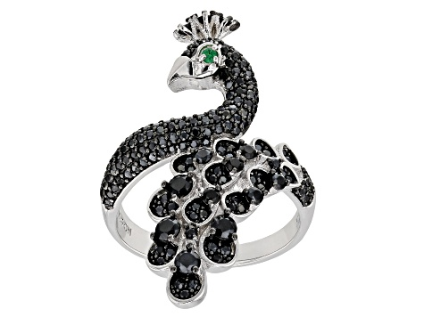 Black Spinel Rhodium Over Silver Peacock Ring 1.51ctw