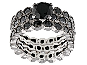 Black Spinel Rhodium Over Silver Set of 3 Stackable Rings 6.54ctw