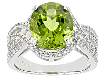 Picture of Green Peridot Rhodium Over Sterling Silver Ring 5.07ctw