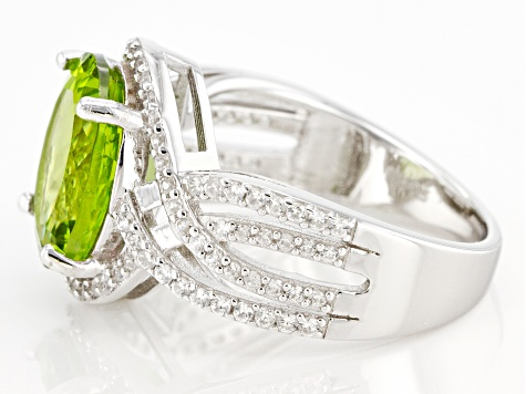 Green Peridot Rhodium Over Sterling Silver Ring 5.07ctw