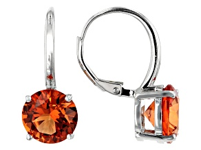 Orange Lab Created Padparadscha Sapphire Rhodium Over Silver Earrings 8.80ctw