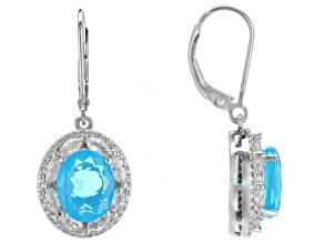 Blue Ethiopian Opal Rhodium Over Silver Earrings 5.35ctw