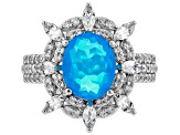 Blue Ethiopian Opal Rhodium Over Silver Ring 2.65ctw