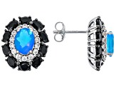 Blue Ethiopian Opal Rhodium Over Silver Earrings 5.26