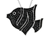 Black Spinel Rhodium Over Silver Fish Pedant With Chain 3.46ctw