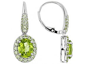 Green Peridot Rhodium Over Silver Earrings 3.65ctw