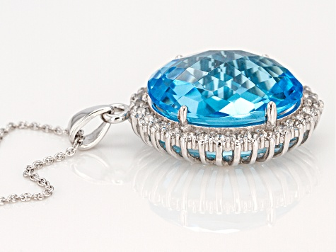 Blue Topaz Rhodium Over Sterling Silver Pendant With Chain 18.50ctw
