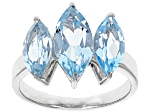Sky Blue Topaz Rhodium Over Sterling Silver 3-Stone Ring 4.50ctw