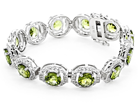 Green Peridot Rhodium Over Sterling Silver Bracelet 22.97ctw