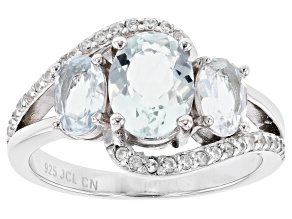 Blue Aquamarine Rhodium Over Silver Ring 2.51ctw