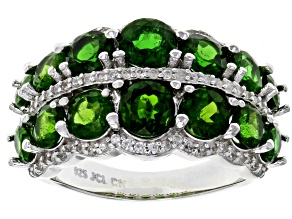 Green Chrome Diopside Rhodium Over Sterling Silver Ring 4.31ctw
