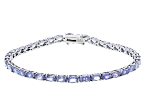 Blue Tanzanite Rhodium Over Sterling Silver Bracelet 7.70ctw