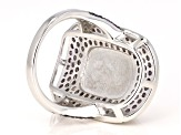 White Moonstone Rhodium Over Silver Ring 11.75ctw
