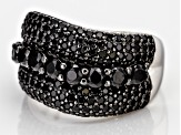 Black Spinel Rhodium Over Silver Ring 3.15ctw