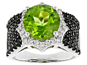 Green Peridot Rhodium Over Sterling Silver Ring 5.55ctw