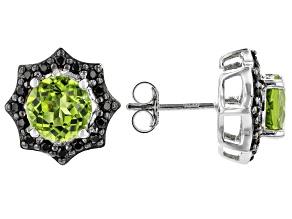 Green peridot rhodium over sterling silver stud earrings 3.73ctw