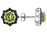 Green peridot rhodium over sterling silver stud earrings 3.73ctw