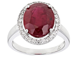 Red Mahaleo® Ruby  Rhodium Over Sterling Silver Ring 4.27ctw