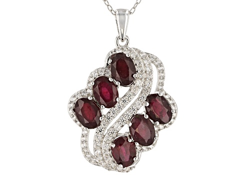 Red Mahaleo® Ruby Rhodium Over Silver Pendant With Chain 5.75ctw