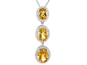 Yellow Citrine Rhodium Over Sterling Silver Pendant With Chain 5.60ctw