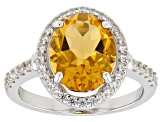 Yellow Citrine Rhodium Over Sterling Silver Ring 3.05ctw