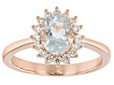 Blue Aquamarine 18K Rose Gold  Over Silver Ring 1.40ctw