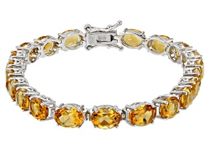 Yellow Citrine Rhodium Over Sterling Silver Bracelet 10.50ctw
