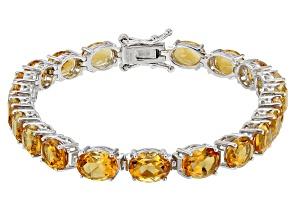 Yellow Citrine Rhodium Over Sterling Silver Bracelet 10.50ctw