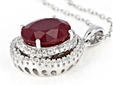 Red Mahaleo® Ruby Rhodium Over Silver Pendant With Chain 4.00ctw