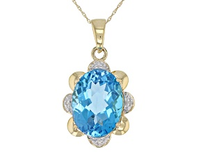 10k Yellow Gold Oval Blue Topaz Pendant With Chain 12.00ctw