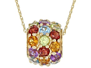 Multi-Gemstone 10k Yellow Gold Pendant with Chain 3.00ctw