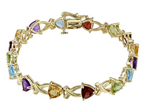 Multi-Gemstone 10k Yellow Gold  Bracelet 6.40ctw