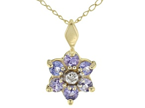 0.40ctw Round Blue Tanzanite, Round White Diamond 10K Yellow Gold Flower Pendant With Chain